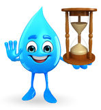 Water Drop Character with sand clock Stock Images
