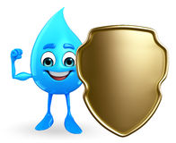 Water Drop Character with shield Royalty Free Stock Images