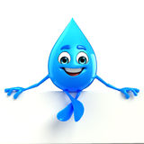 Water Drop Character with sign Royalty Free Stock Image