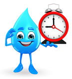 Water Drop Character with table clock Stock Image