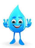 Water Drop Character with victory pose Royalty Free Stock Photo