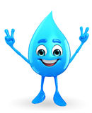 Water Drop Character is Victory pose Royalty Free Stock Photos
