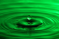 Water drop close up with concentric ripples colourful green surf Stock Photography