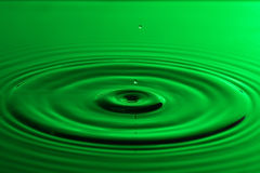 Water drop close up with concentric ripples colourful green surf Royalty Free Stock Photos