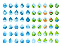 Water drop collection. Clear water, product logo, product emblem, water drop, environmentally friendly product, leaf in a water drop, pure drop, set of drops of