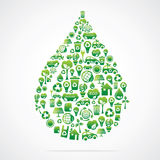 Water drop is design with eco nature icons Stock Photo