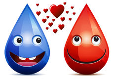 Water drop and drop of blood love. Smiling faces (emoticons) on white background Stock Photos