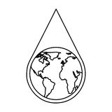 water drop with earth planet Stock Photography
