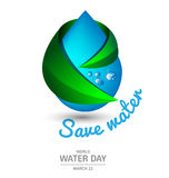 Water drop with ecology leaf for World Water Day Stock Image