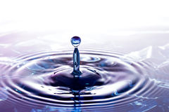 Water drop falling into water . Royalty Free Stock Image