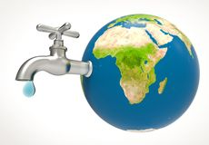 Water drop and faucet on planet earth. Water drop and faucet on blue planet earth map. Save Water concept. 3d illustration and rendering image Stock Images