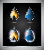 Water drop and fire icons Stock Photos