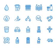 Water drop flat line icons set. Aqua filter, softener, ionization, disinfection, glass vector illustrations. Thin signs. For bottle delivery. Pixel perfect stock illustration