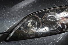 Water drop at front of car. Close up water drop at front of car Stock Image