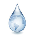 Water Drop with Globe Royalty Free Stock Photography