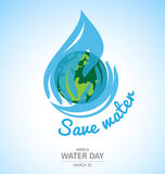 Water drop in Hand design with earth for World Water Day Stock Photos