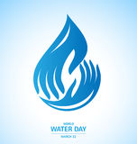 Water drop in hand design for World Water Day Royalty Free Stock Photos