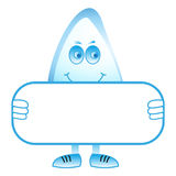 Water Drop Holding A Blank Sign Stock Photo