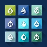 Water drop icons in flat design style Royalty Free Stock Photography