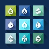 Water drop icons in flat design style Stock Photo