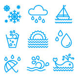 Water And Drop Icons Set Royalty Free Stock Photography