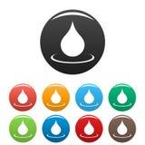 Water drop icons set stock illustration