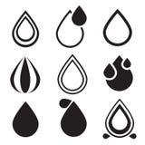 Water Drop Icons Set Stock Photos