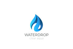 Water drop Logo design. Ribbon Waterdrop icon Aqua Stock Photography