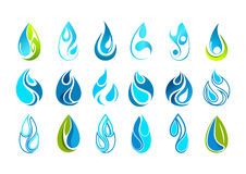 Water drop logo design. In set isolated in white background Stock Photos