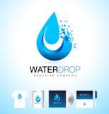 Water Drop Logo. Vector Water Drop Design with Splash. Stock Photos