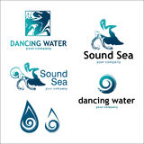 Water and drop logos isolated on white. Set 1. Vector logo with text. Recommended for the logos of companies associated with water Royalty Free Stock Photography