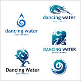 Water and drop logos isolated on white. Set 2. Vector logo with text. Recommended for the logos of companies associated with water Royalty Free Stock Images