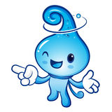 Water drop mascot the direction of pointing with both hands. Nat Royalty Free Stock Photo