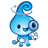 Water drop mascot examine a with a magnifying glass. Nature Char Royalty Free Stock Photos