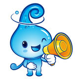 Water drop Mascot the hand is holding a loudspeaker. Nature Char Royalty Free Stock Photo
