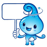 The Water drop mascot holding a board. Nature Character Design S Royalty Free Stock Photography