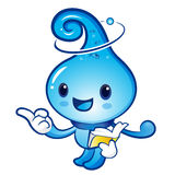 Water drop mascot the right hand guides and the left hand is hol Stock Photography