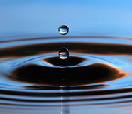 Water drop. A drop of water in a pool Royalty Free Stock Photos