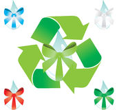 Water drop with ribbon. Recycling water drop with ribbon - vector illustration Stock Photography