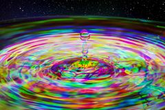 Water drop ripple splash. With abstract multi coloured Harris Shutter Effect royalty free stock images