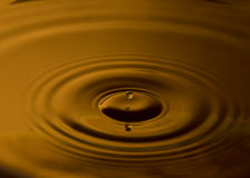 Water drop with ripples. Gentle ripples rolling outwards from a single water drop falling into liquid Stock Image