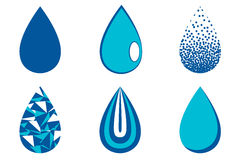Water drop set, blue drop buttons Royalty Free Stock Photography