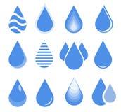 Water drop set, blue drop buttons Stock Photos