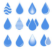 Water drop set, blue drop buttons. Vector Illustration Royalty Free Stock Photo