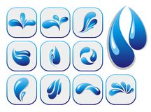 Water drop shapes collection. Set of  icons Royalty Free Stock Photography