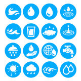 Water drop shapes collection. Vector icon set. Water drop shapes collection. Vector colored icon set blue and white Stock Photography