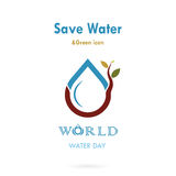 Water drop with small tree icon vector logo design template.Worl Royalty Free Stock Image