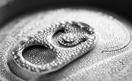 Water drop on soda cans Stock Photos