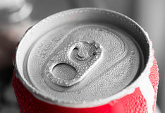 Water drop on soda cans Royalty Free Stock Image