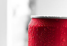 Water drop on soda cans Stock Image
